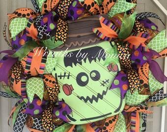 Deco mesh Halloween Frankenstein wreath, Frankenstein Wreath, halloween wreath, halloween decor, Front door decor, trick or treat wreath