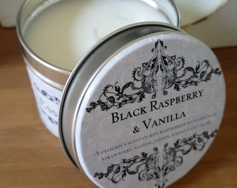 Essence Candles Hand Poured Scented Soy Wax Candle Tin - Black Raspberry & Vanilla