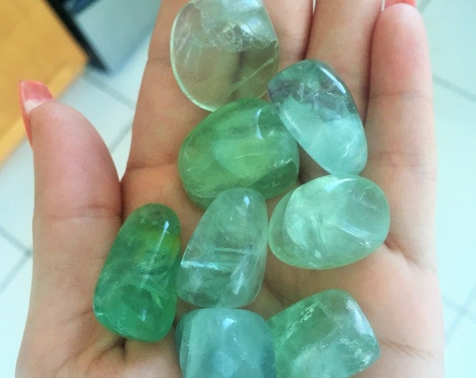 5 GREEN Fluorite Healing Crystals Perfect for Crystal Grid, Chakra Stones, Meditation