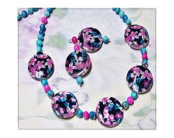 Mother of Pearl, hot pink and aqua blue, necklace and earrings set, choose your fittings