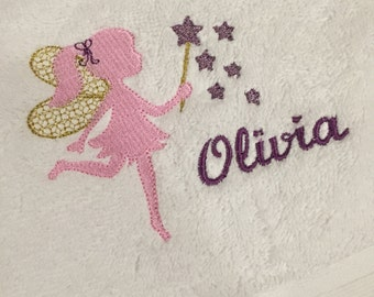 OLIVIA fairy hand embroided towel - FREE SHIPPING