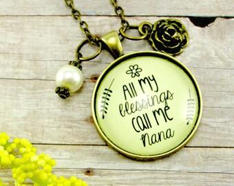 Nana Grandmother Necklace All My Blessings Call Me Nana Vintage Style Pendant Gift For Grandma Pearl Bead Rose Charm Gift for Nana
