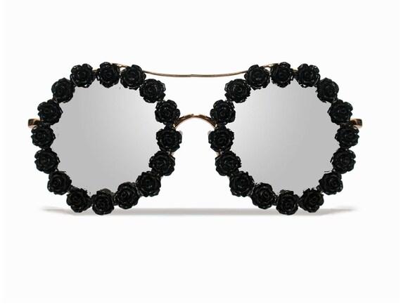 Savannah Black Flower Coachella Festival Sunglasses