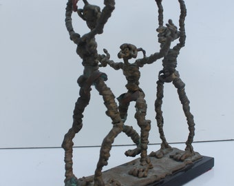 Vintage Abstrac Bronze Figurative  Acrobat Sculpture By PEREZ.