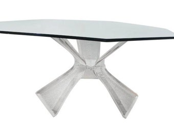Chic Vintage Triple Butterfly  Lucite  Dining Table.