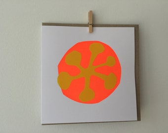 Handmade, hand stencilled, blank greeting card with envelope