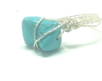 Silver Plated Wire and Turquoise Ring