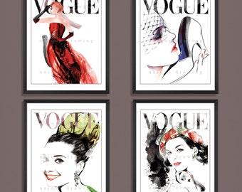 Fashion Print, Fashion Illustration, Fashion art, Fashion wall art, Vogue print, Vogue magazine, Vintage Vogue cover, Set of 4 prints, 3268