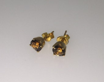 18K Yellow Gold and Smoky Brown Topaz Stud Earrings with valuation