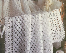 Instant PDF Download Vintage Crochet Pattern to make A Lacy  Heirloom Baby Christening Shawl or Blanket for Cot Crib Pram