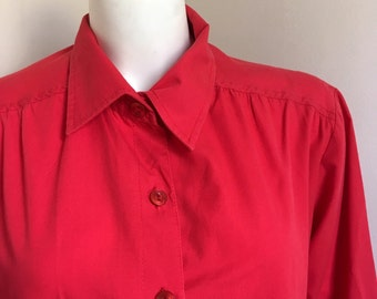 Red Vintage Buttondown Blouse w/ Wide Three Quarter Sleeves by Anthony Richards