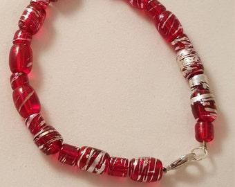 Red Glass Bead Bracelet - Single Strand Bracelet - Red Bracelet - Glass Bracelet - Silver Bracelet - Painted Glass Bracelet -Women's Jewelry