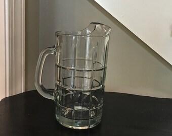 Vintage Anchor Hocking Tartan- 50 oz clear glass pitcher