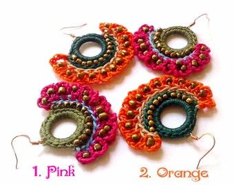 Hippie earring, Handmade Macrame Dangle Earrings, earring thailand