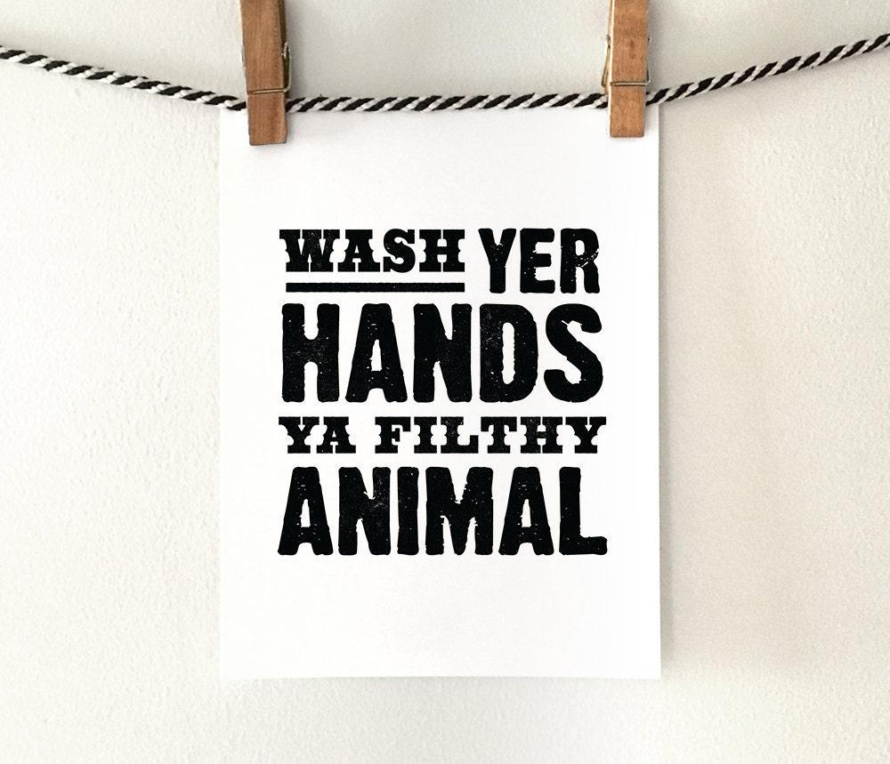 Bathroom Wall Art Printable Art Wash Hands Sign By