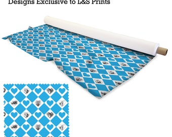 Alice In Wonderland Blue Heart Fabric 2 way stretch Lycra  / Spandex / Satin / Chiffon / Jersey / Voile / Waterproof / Microfibre / Twill