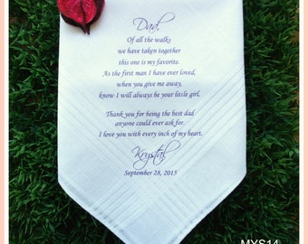 Father of the Bride Hankerchief-Wedding Handkerchief-PRINTED-CUSTOMIZED-Wedding Favors-Father in Law-Wedding Gift-Father of the Bride Gift