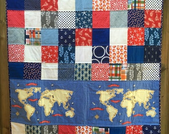 Nautical Red White and Blue Baby Quilt with World Map