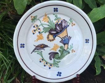 1700s Antique Faience Plate Corne d'abondance et Oiseau Cornucopia & Bird Delfts Polychroom Sepia Dish Angouleme La Rochelle France *Free SH