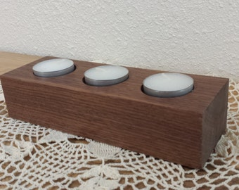 Handmade Black Walnut Tea Light Candle Holder