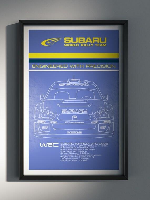 Subaru World Rally Team, Team Poster, WRC, 2005 World Rally Car Front View - Art Print Production