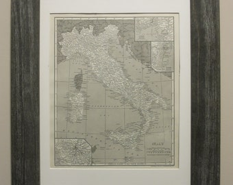 Antique 1914 Italy Map Framed