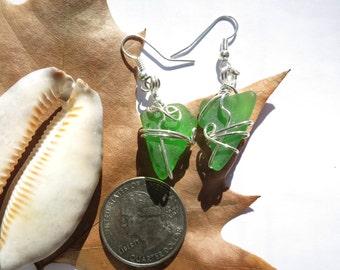 Green sea glass earrings, beach glass earrings, sea glass earrings, beach glass jewelry, sea glass jewelry