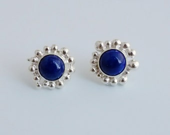 Lapis and Silver Stud Earrings