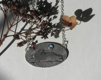 ON Sale Moonstone and Bunny in Silver