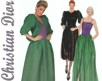 Christian Dior, Vogue 2834 sz 10 b 32.5 UNCUT, Designer Gown, Couture Dress, Dior Dress, Fit and Flare Dress, Evening Gown, 80s Prom Dress