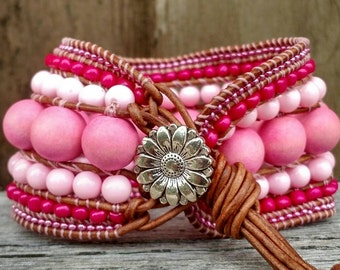 Candy shop, Bubblegum, chunky wrap bracelet, leather wrap cuff, beaded cuff bracelet, boho bracelet, leather wrap bracelet,