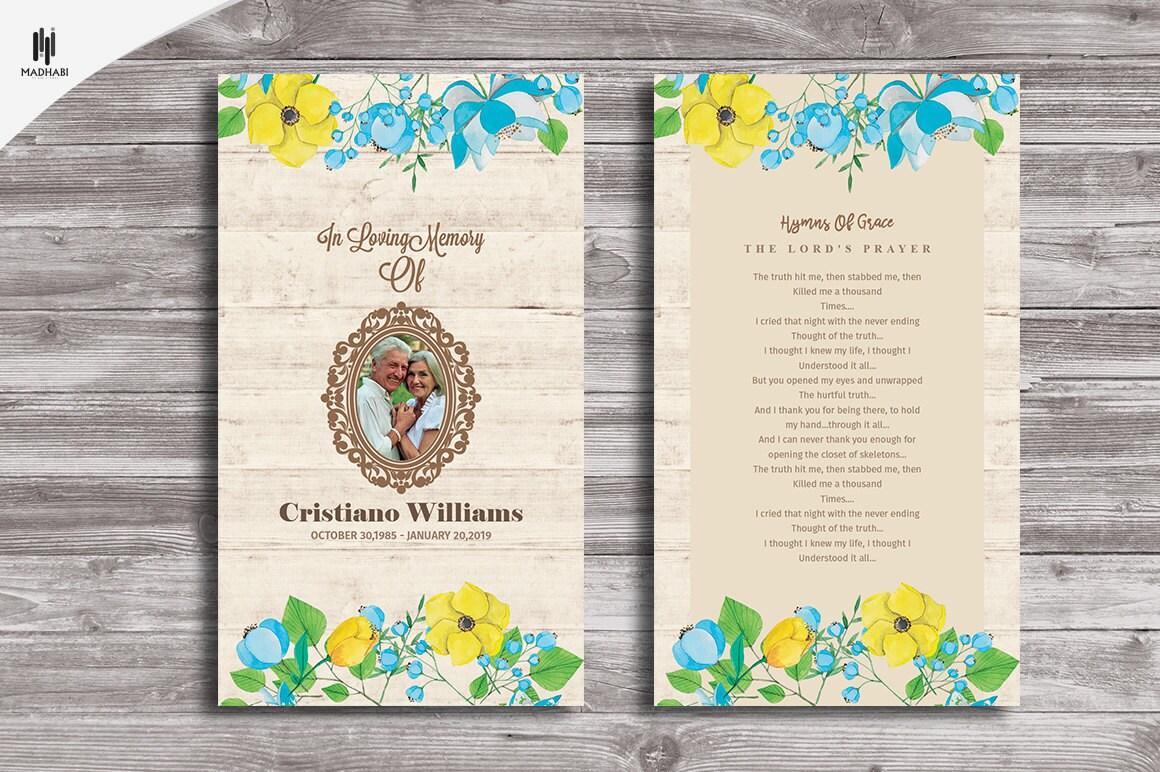 funeral prayer card funeral program template memorial