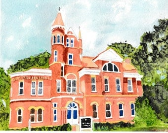 Ventress Hall, Ole Miss, Oxford MS, University of MS, Ole Miss art, Watercolor, Oxford paintings, Oxford prints, Ole Miss paintings, Oxford
