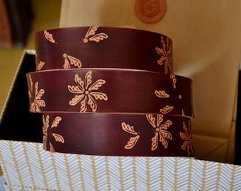 Handmade belt/Autumn belt/eather belt/Garnet belt/Bordeaux belt/Belt for women/Flowers