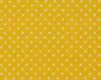 Yellow with white dots - polka dot fabric - Riley Blake swiss dots