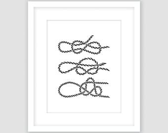 Rope Knot Print, Black and White Three Rope Print, Nautical Wall Art, Beach Decor, Modern Art, Instant Download, DIY, Printable