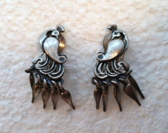 Vintage Sterling Silver Peacock Earrings With Drops