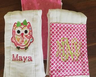 Owl Burp Cloth Set