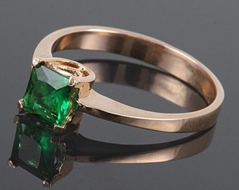Emerald ring, Gold emerald ring, Solitaire ring, Emerald solitaire ring, Gold solitaire ring, May birthstone ring, Princess cut ring