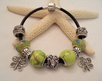 European Charm Bracelet, Big Hole Charm Bracelet, Butterfly Charm Bracelet, Butterfly Bracelet, Nature Bracelet, Boho Bracelet, Boho Jewelry