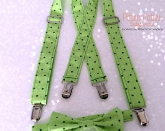 St Patricks Day Suspenders - Green Suspender Set - Baby's 1st St Patricks Day -Infant Suspenders -Toddler Suspenders -St Patricks Photo Prop