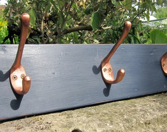 Nordic Blue Reclaimed Wood Coatrack with Copper Hooks