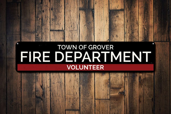 Firefighter Man Cave Signs : Volunteer fire department sign custom town name location