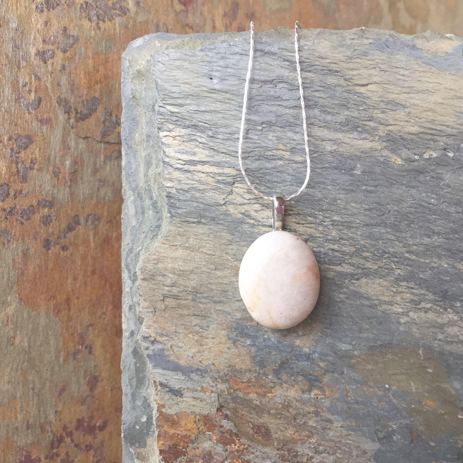 Natural River Rock : Smooth river stone necklace natural rock