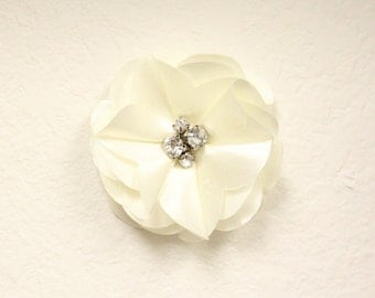 Pet Collar Accessory - Satin Flower with Gems