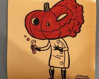 Vintage Style Halloween 8 x 8 inch PRINT by Rhode Montijo- DR. JACKYLL