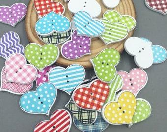 15 x 20mm wooden heart shape buttons