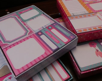 Sticky notes set in a box