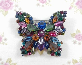 Vintage Made in Austria Signed Japanned Rhinestone Butterfly Brooch