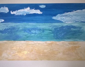 Hand painted picture Beach sea and sky